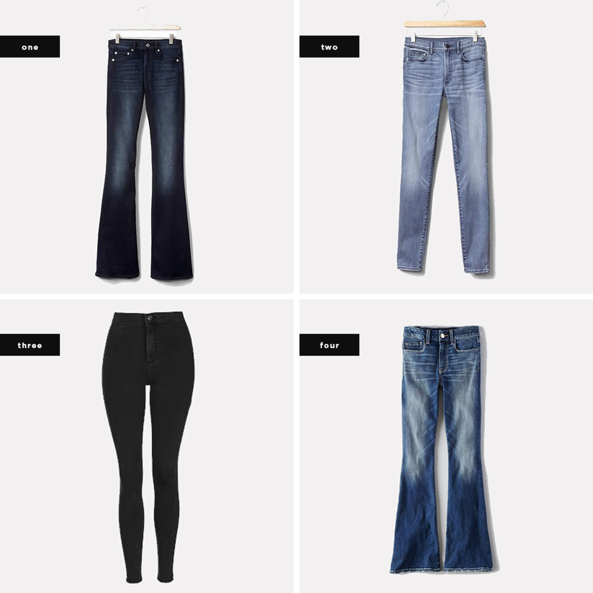 1. Gap, $70 / 2. Gap, $70 / 3. Topshop, $65 / 4. American Eagle Outfitters, $45