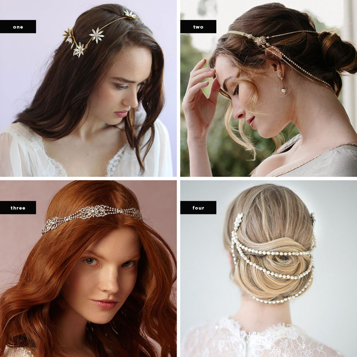 1. Twigs & Honey, $575 / 2. Etsy, $390 /3. BHLDN, $200 / 4. Etsy, $59