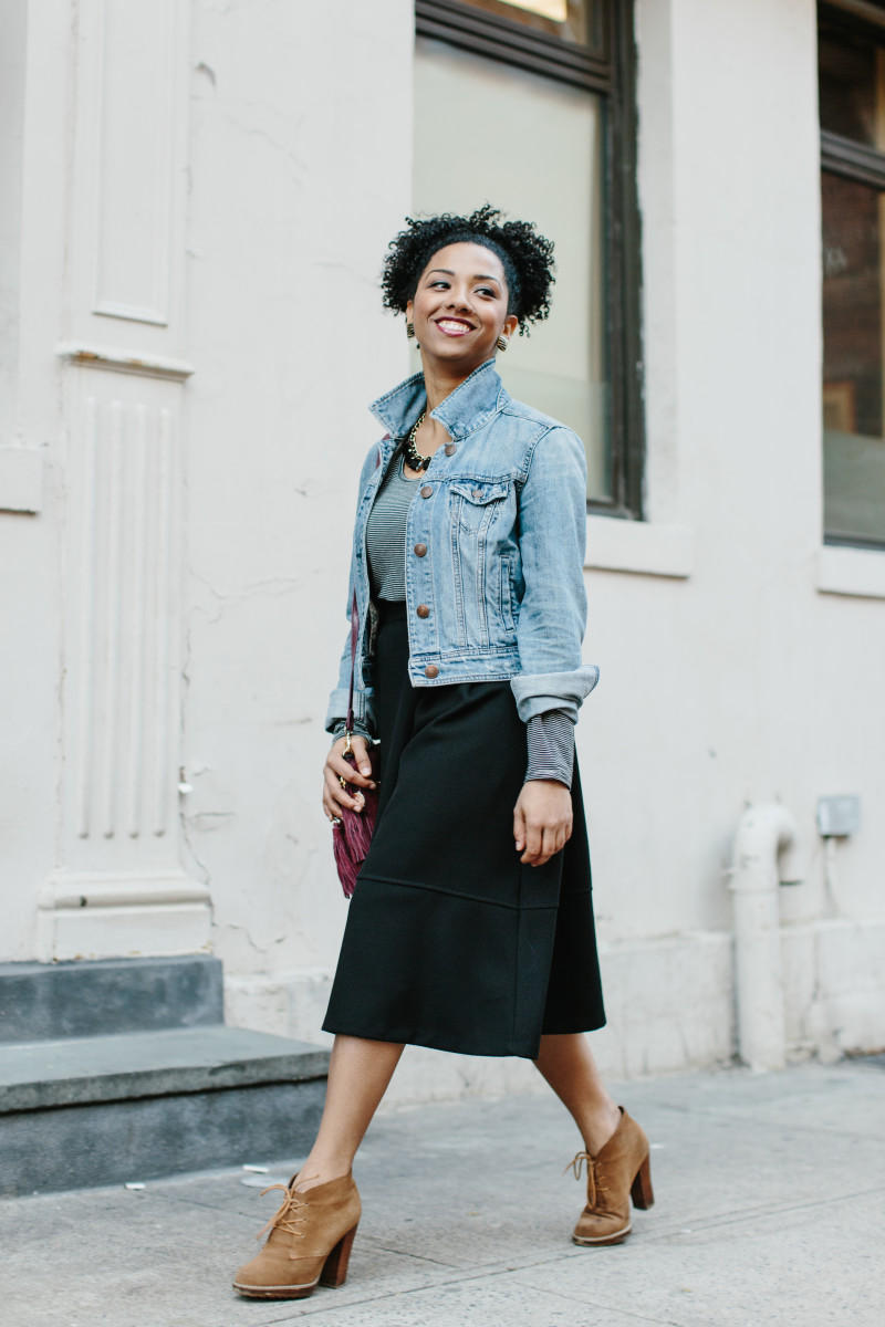 1. Denim jacket, American Eagle Outfitters, $70 / 2. Boots, Sole Society, $45 (similar) / 3. Skirt, ModCloth, $60 (similar) / 4. Bag, Oasis, $62 (similar) / 5. Jewelry, Model's Own