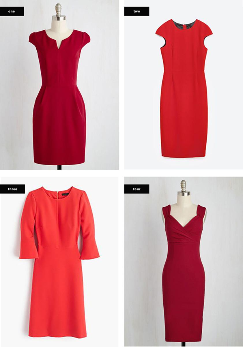 1. ModCloth, $55 / 2.Zara, $70 / 3. J.Crew, $128 / 4. ModCloth, $90