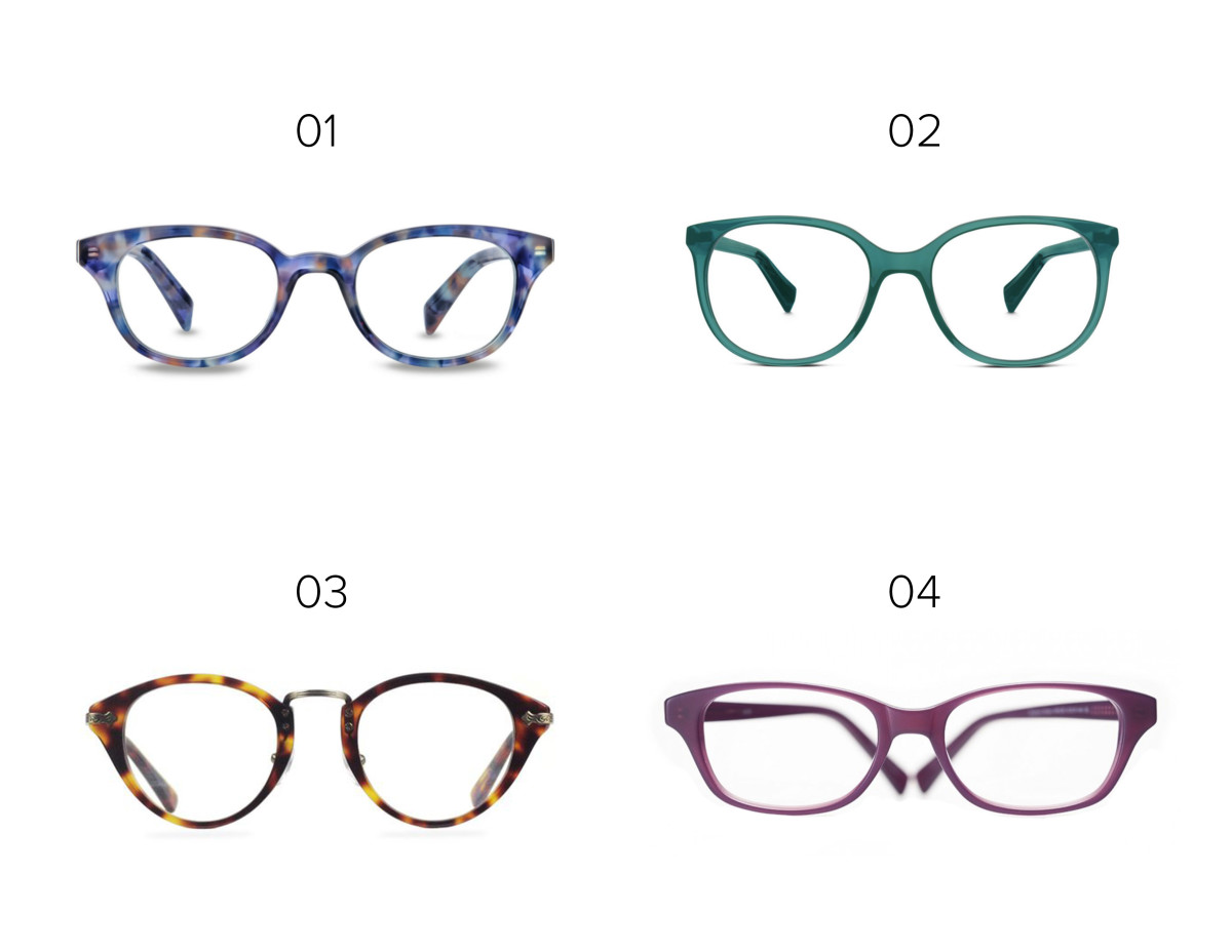 1. Warby Parker, $95 / 2. Warby Parker, $95 / 3. Lookmatic, $99 / 4. Eyefly, $94