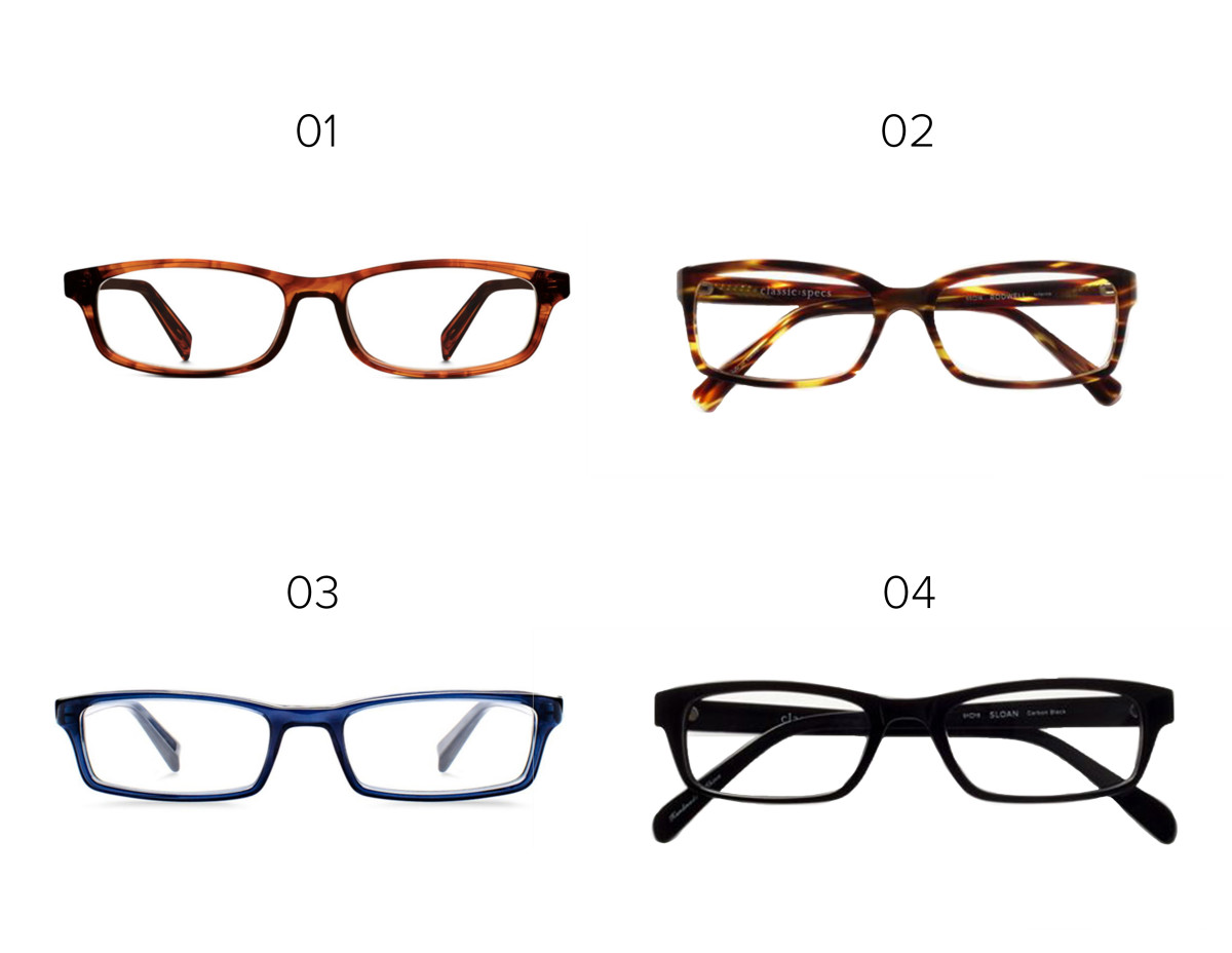 1. Warby Parker, $95 / 2. Classic Specs glasses, $89 / 3. Warby Parker, $95 / 4. Classic Specs glasses, $89