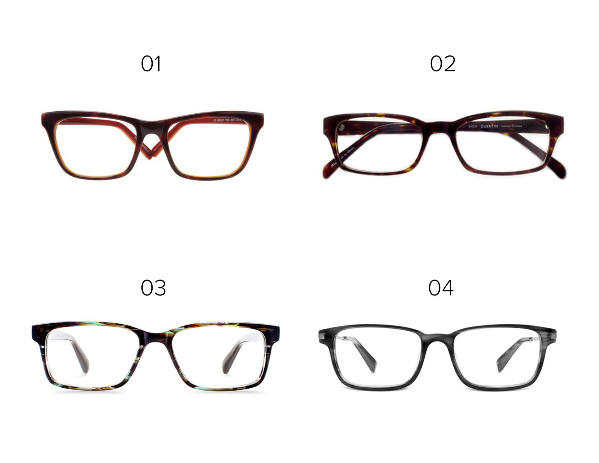 1. Eyefly, $149 / 2. Classic Specs, $89 / 3. Warby Parker, $95/ 4. Warby Parker, $145