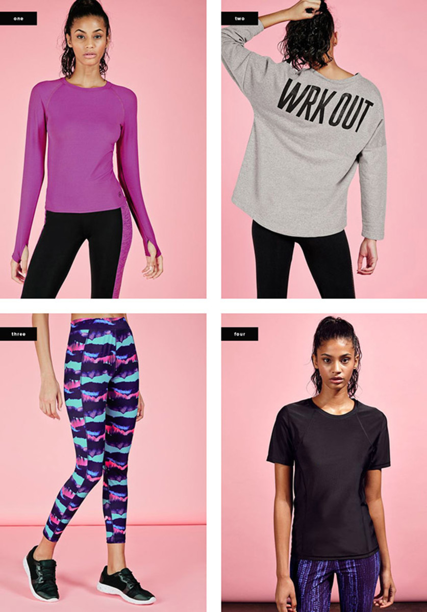 1. Long-Sleeve Top, $25 / 2. Sweatshirt, $25 / 3. Leggings, $27 / 4. T-Shirt, $14