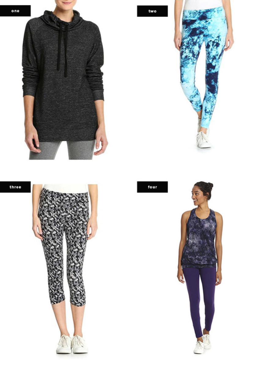 1. Sweater, $15 / 2. Leggings, $34 / 3. Capri Leggings, $19 / 4. Tank, $10