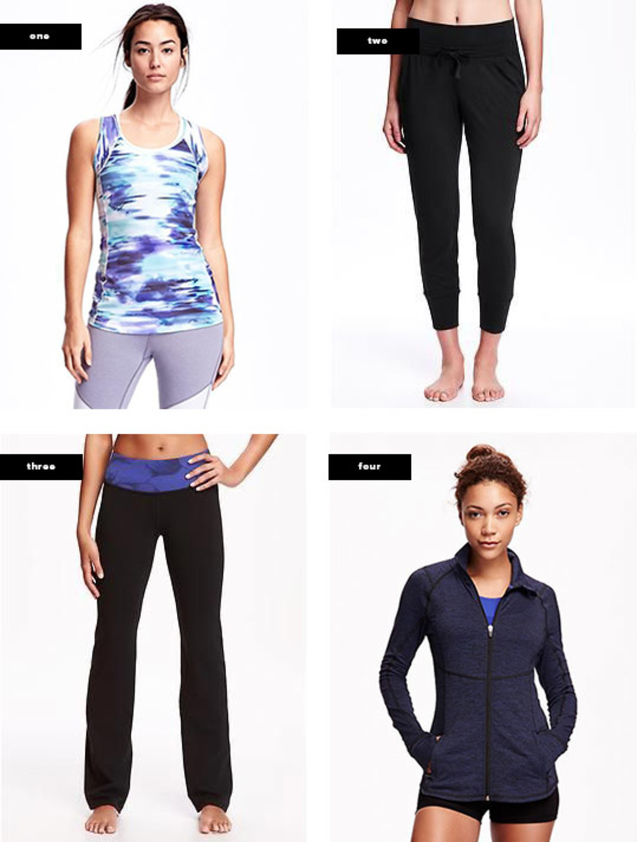 1. Tank, $14 / 2. Joggers, $25 / 3. Yoga Pants, $20 / 4. Jacket, $40