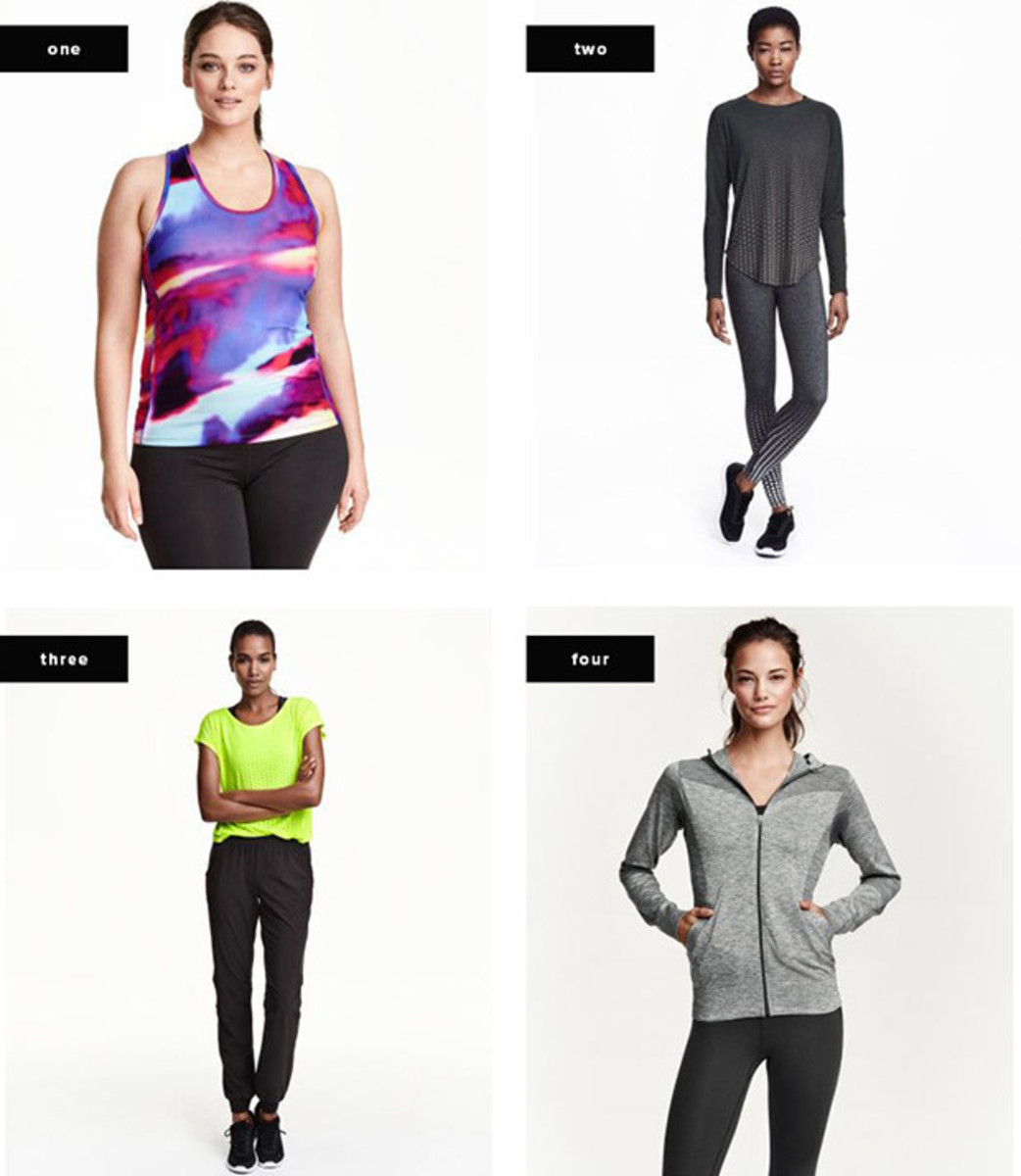 1. Tank, $13 / 2. Tights, $30 / 3. Pants, $30 / 4. Jacket, $40