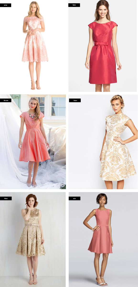 1. Chi Chi London, $123 / 2. Nordstrom, $198 / 3. Shabby Apple, $138 / 4. Asos, $118 / 5. ModCloth, $240 / 6. David's Bridal, $120