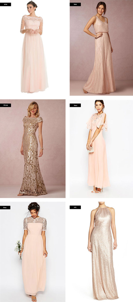 1. Chi Chi London, $113 / 2. BHLDN, $280 / 3. BHLDN, $430 / 4. Asos, $144 / 5. Asos, $119 / 6. Nordstrom, $300