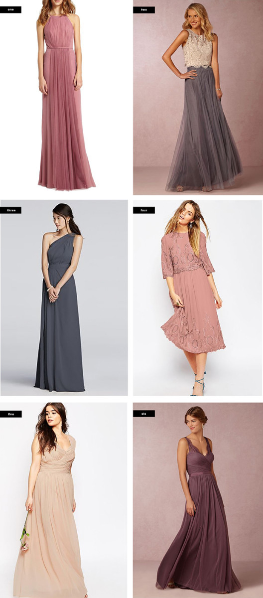 1. Nordstrom, $298 / 2. BHLDN, $300 / 3. David's Bridal, $140 / 4. Asos, $145 / 5. Asos, $127 / 6. BHLDN, $250