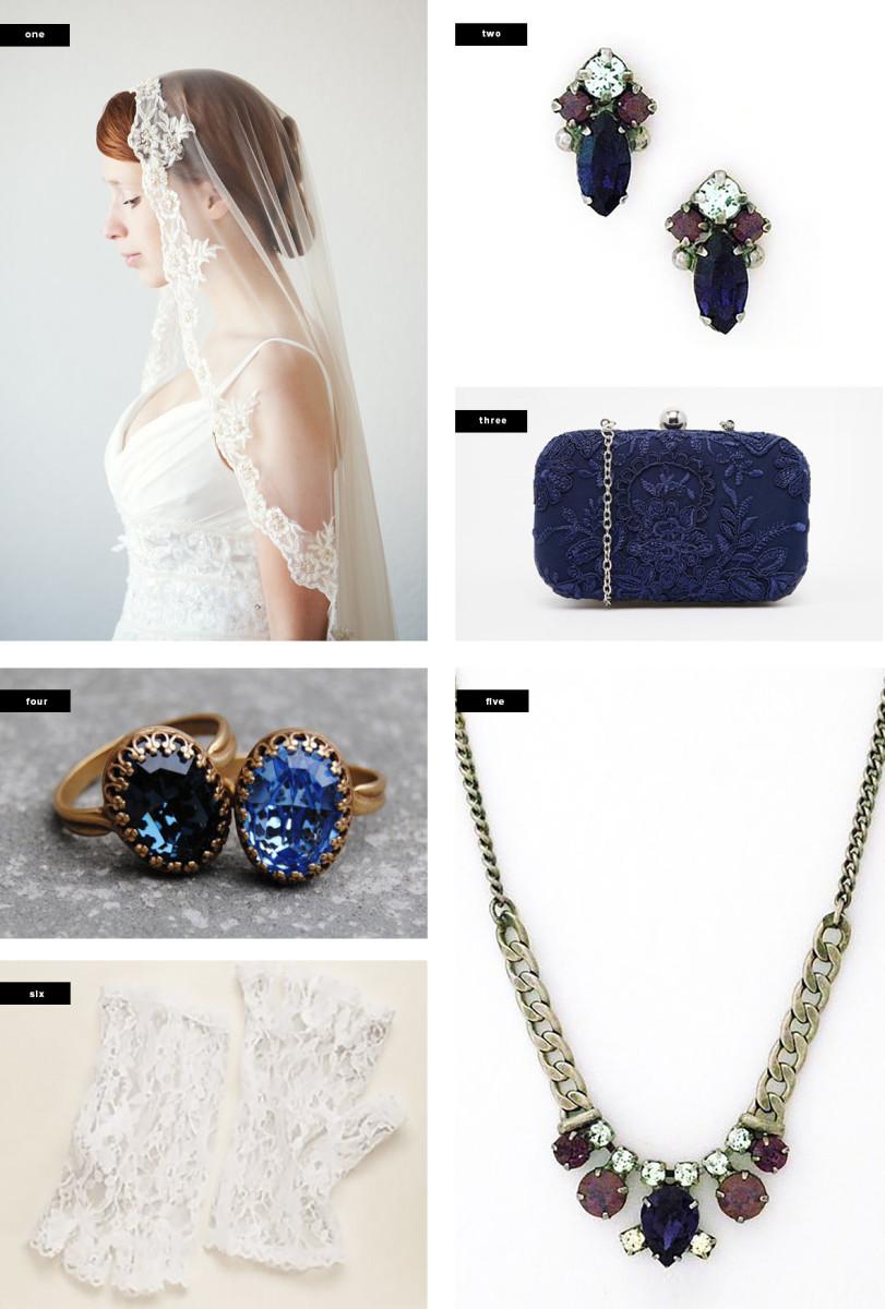 1. Etsy, $390/ 2. Perfect Details, $ 35/ 3. Asos, $55/ 4. Etsy, $27/ 5. Perfect Details, $80/ 6.David's Bridal, $15