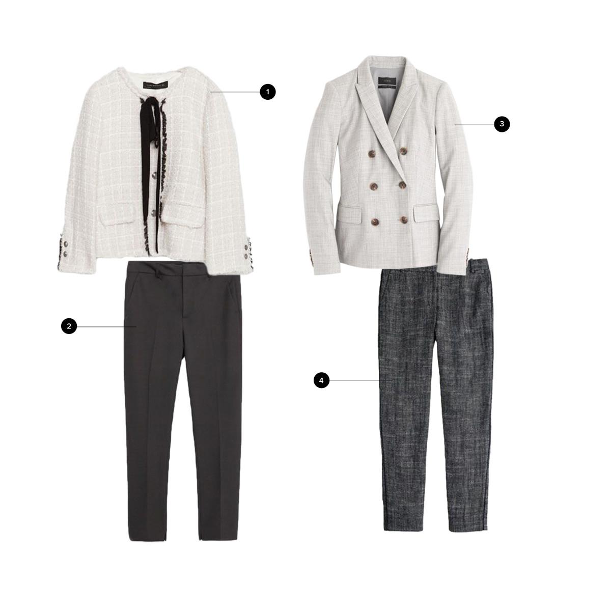 1. Zara, $149/ 2. Zara, $50 / 3. J.Crew, $238/ 4. J.Crew, $148