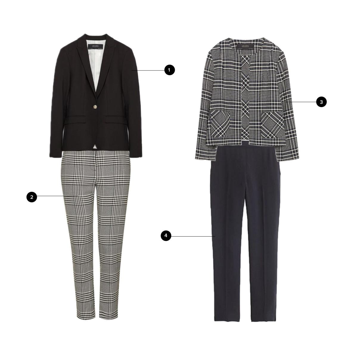 1. Zara, $70 / 2. Stylebop, $137(similar)/ 3. Zara, $100 / 4. J.Crew, $110