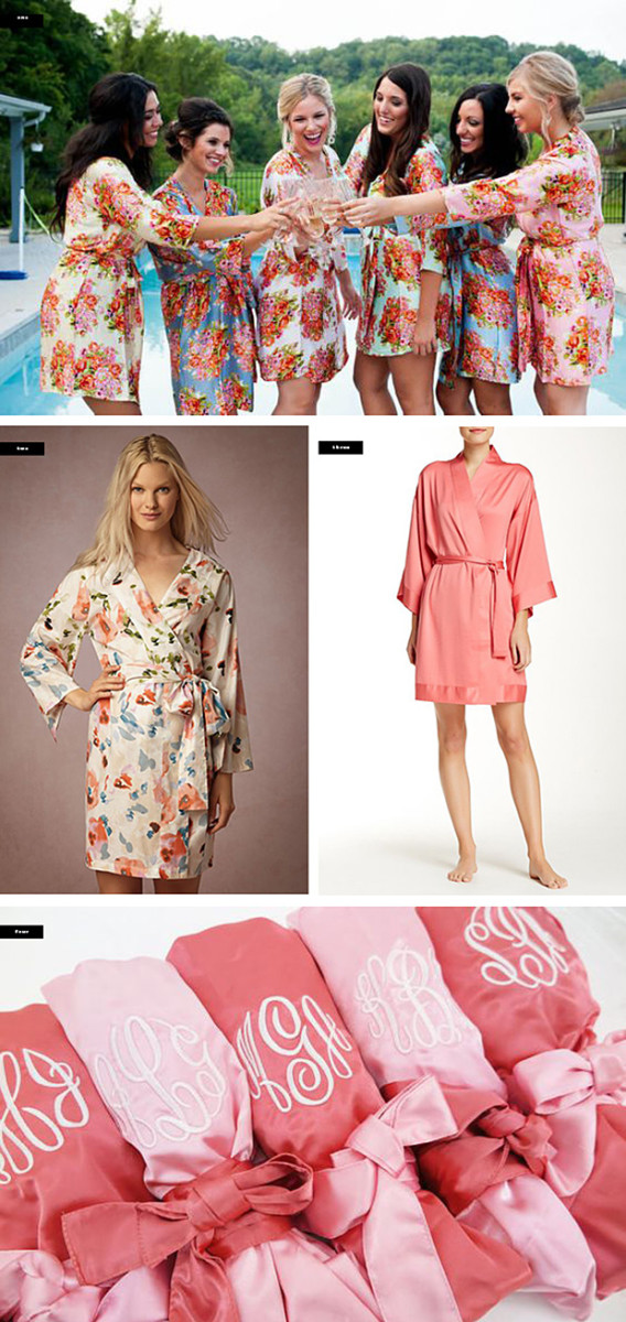 1. Silk And More, $87+ (for set) / 2. BHLDN, $68 / 3. Nordstrom, $30 / 4. Bridal Party Robe Shop, $252 (for set of 6)