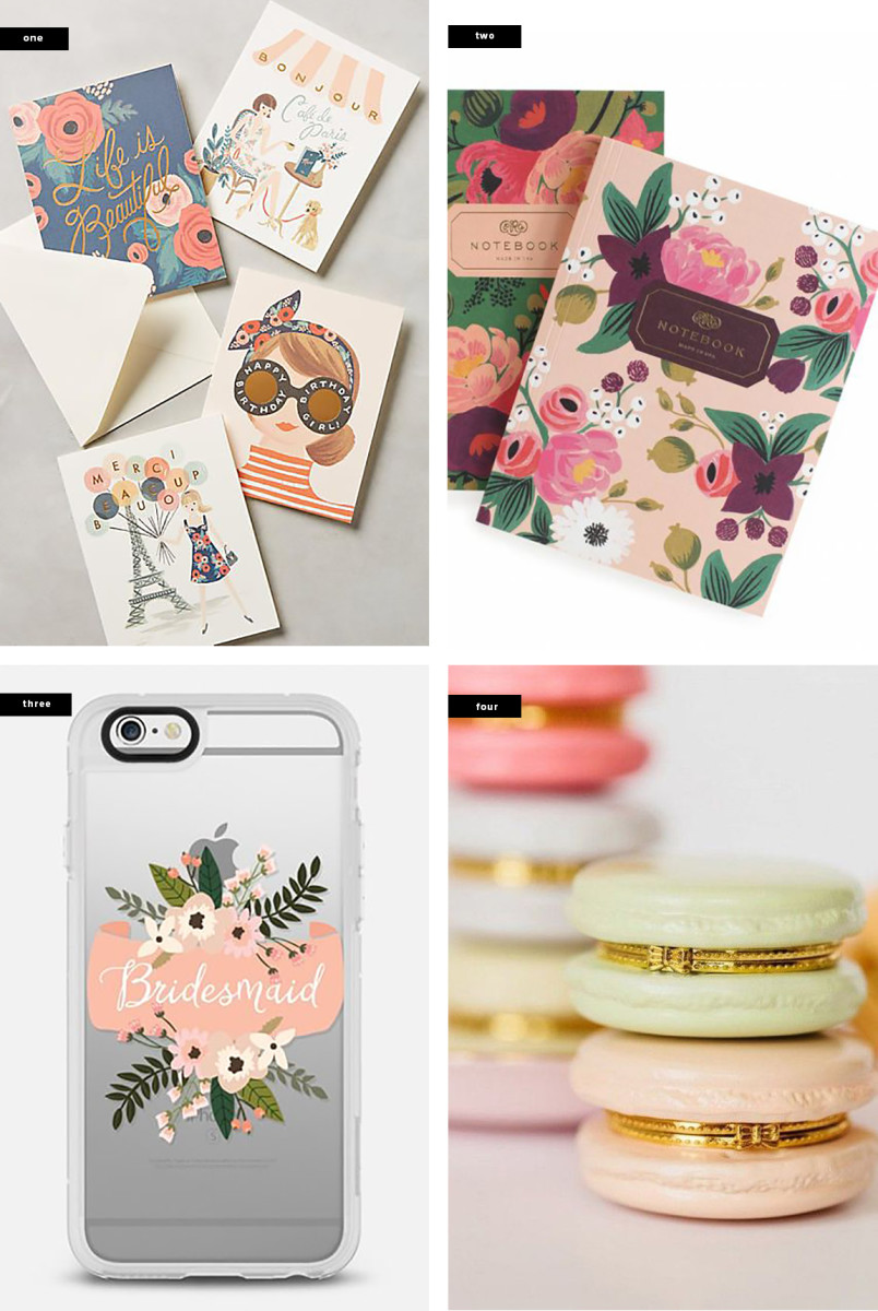 1. Anthropologie, $18 / 2. Rifle Paper Co., $14 / 3. Casetify, $40 / 4. Please Don't Tell, $14