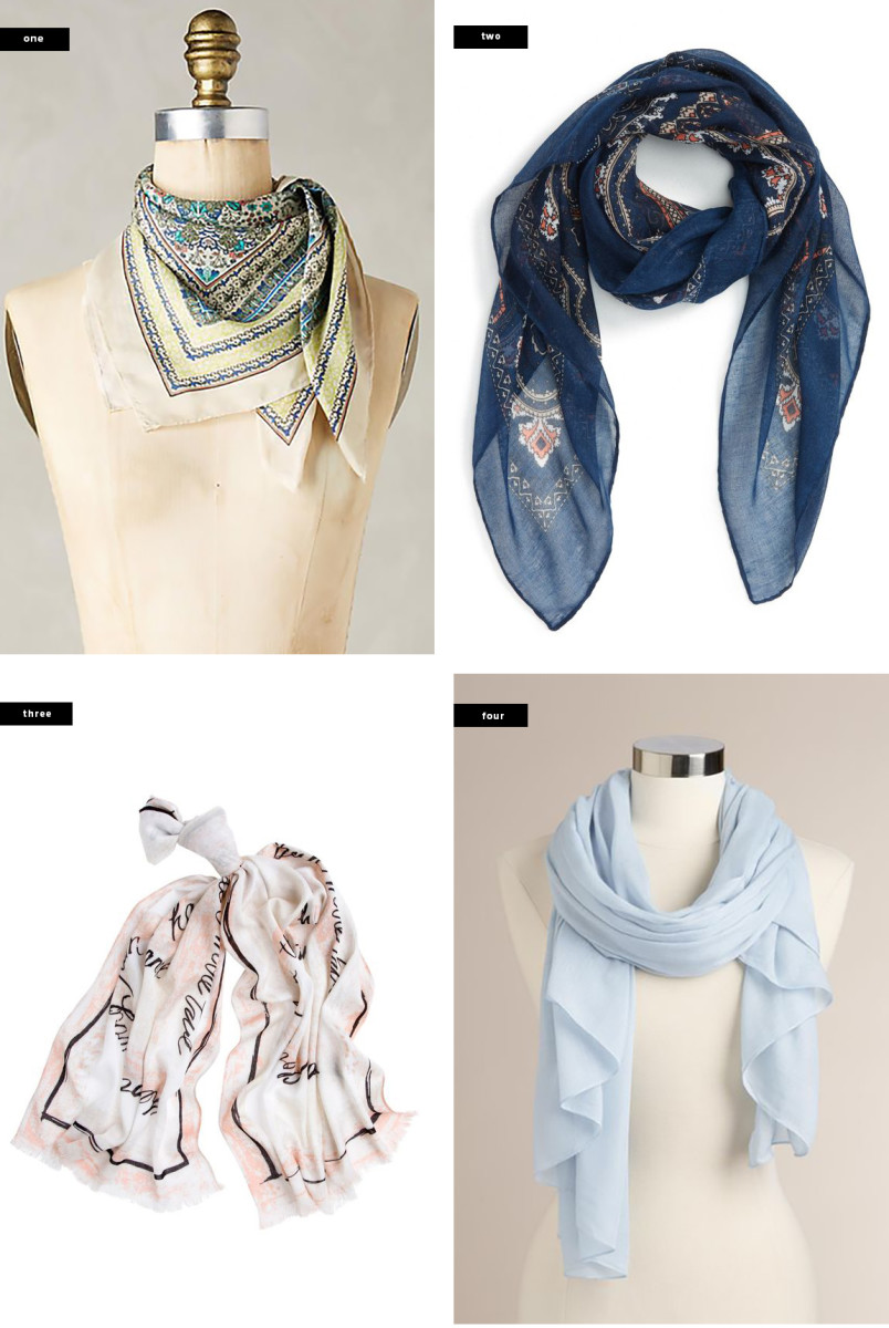 1. Anthropologie, $50 / 2. Nordstrom, $18 / 3. White House Black Market, $48 / 4. World Market, $17
