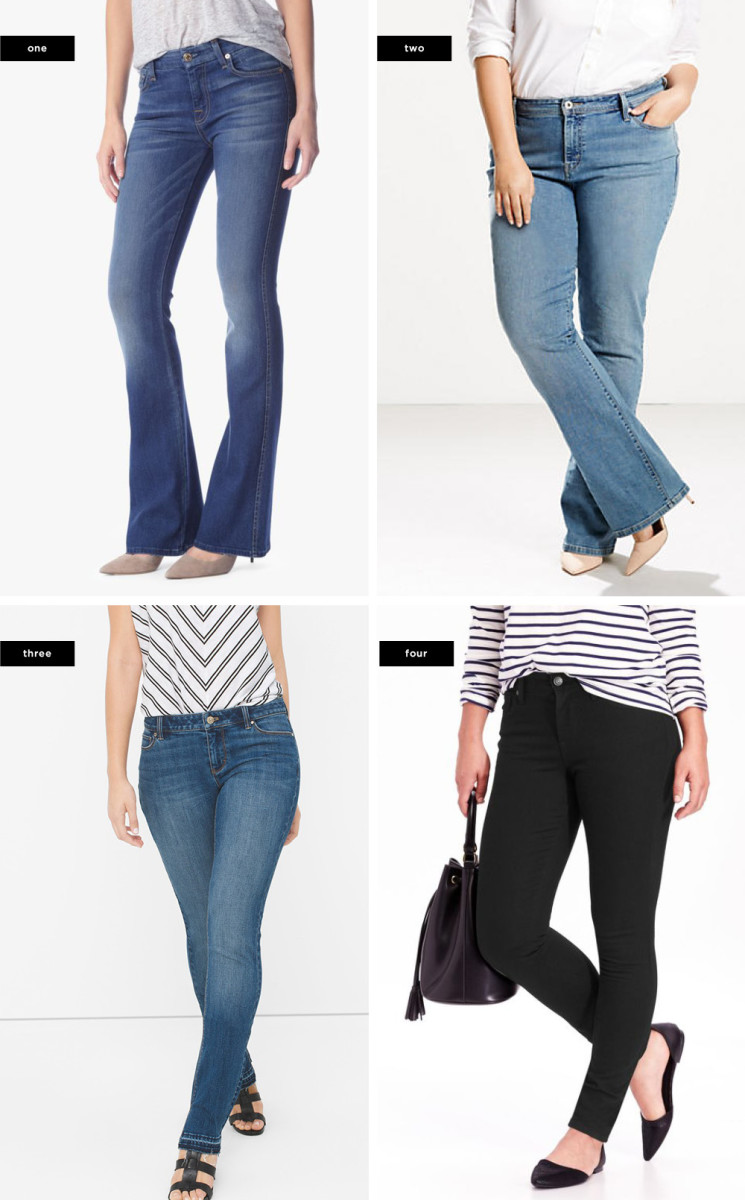 1. 7 For All Mankind, $149 / 2. Levi's, $55 / 3. White House Black Market, $78 / 4. Old Navy, $27