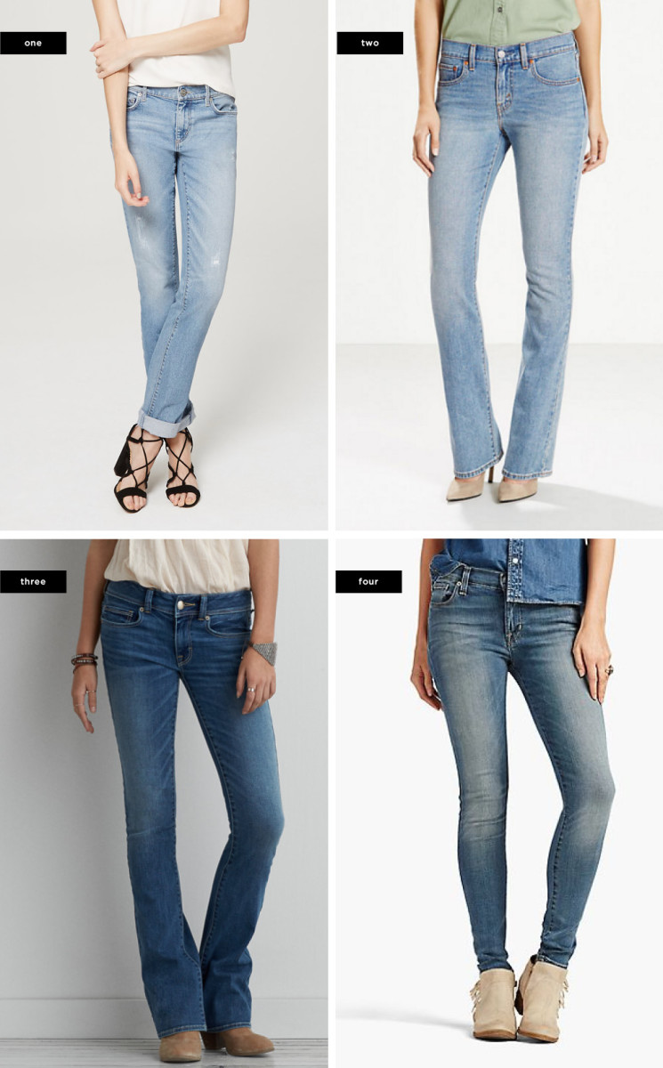 1. Ann Taylor Loft, $80 / 2. Levi's, $55 / 3. American Eagle Outfitters, $45 / 4. Lucky Brand, $129