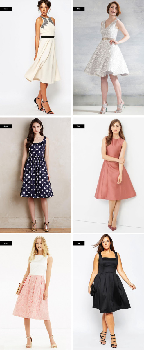1. Asos, $106 / 2. ModCloth, $175 / 3. Anthropologie, $208 / 4. White House Black Market, $200 / 5. Oasis, $115 / 6. Asos, $68