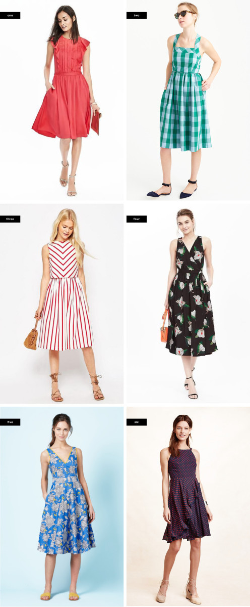 1. Banana Republic, $128 / 2. J.Crew, $138 / 3. Asos, $81 / 4. Banana Republic, $178 / 5. Boden, $138 / 6. Anthropologie, $158