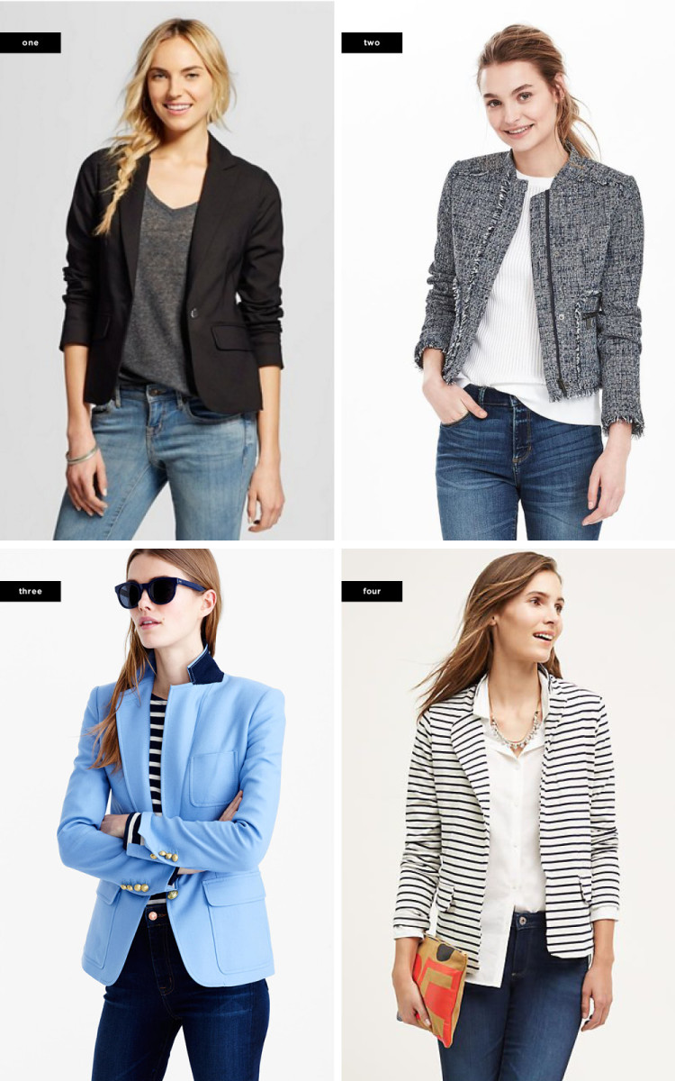 1. Target, $69 / 2. Banana Republic, $168 / 3. J.Crew, $248 / 4. Anthropologie, $98