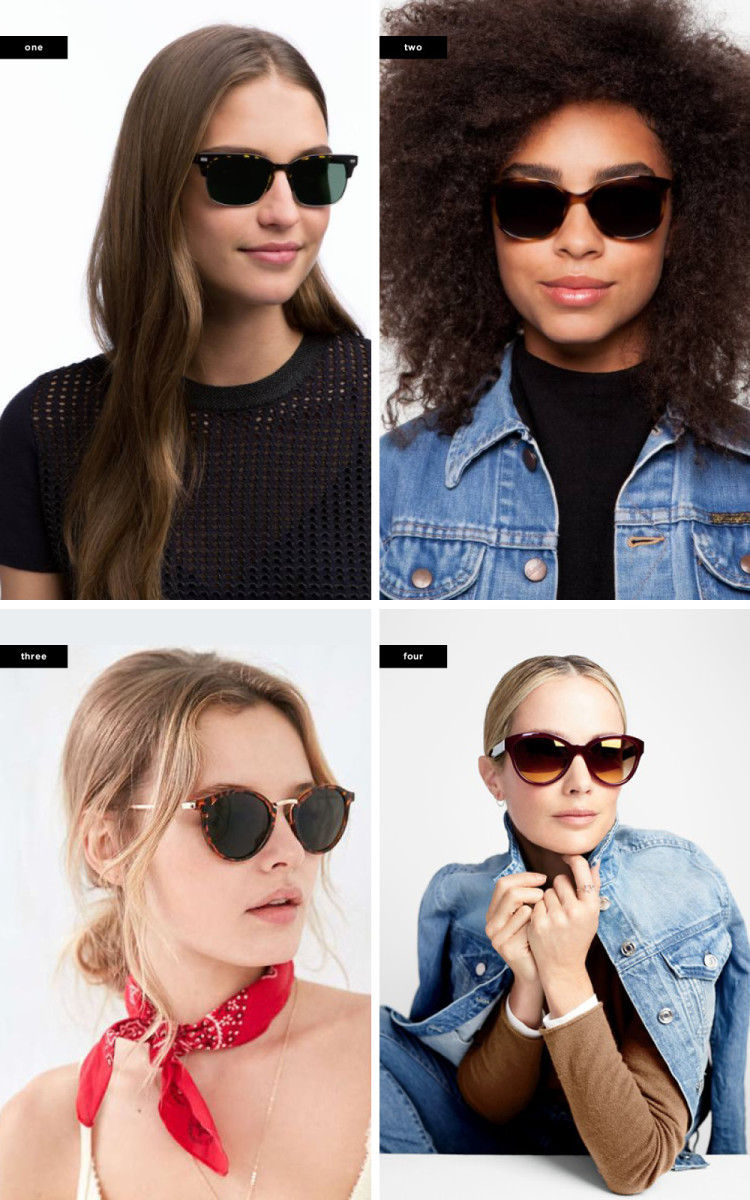 1. Warby Parker, $145 / 2. Warby Parker, $95 / 3. Urban Outfitters, $16 / 4. J.Crew, $128