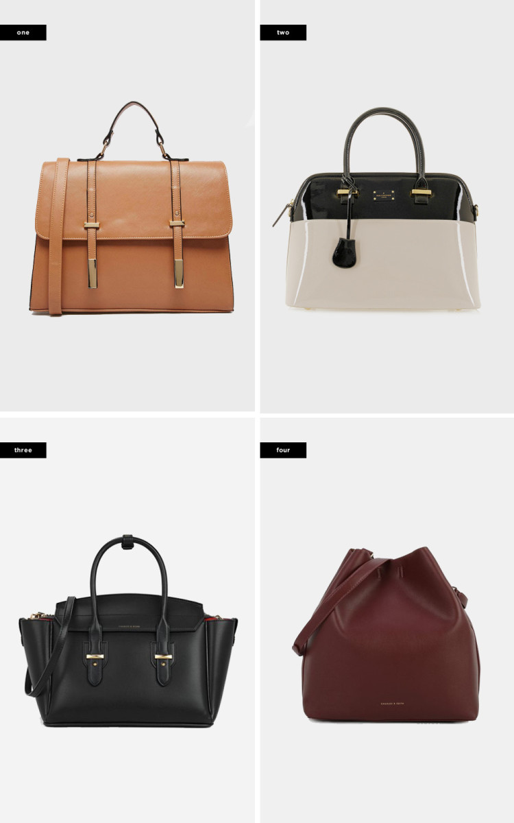 1. Asos, $41 / 2. Paul's Boutique, $145 / 3. Charles & Keith, $69 / 4. Charles & Keith, $63(similar)