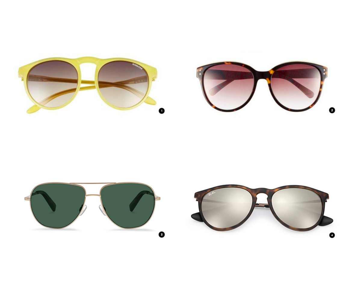 1. Nordstrom, $89 / 2. Nordstrom, $69 / 3. Warby Parker, $145/ 4. Ray-Ban, $140