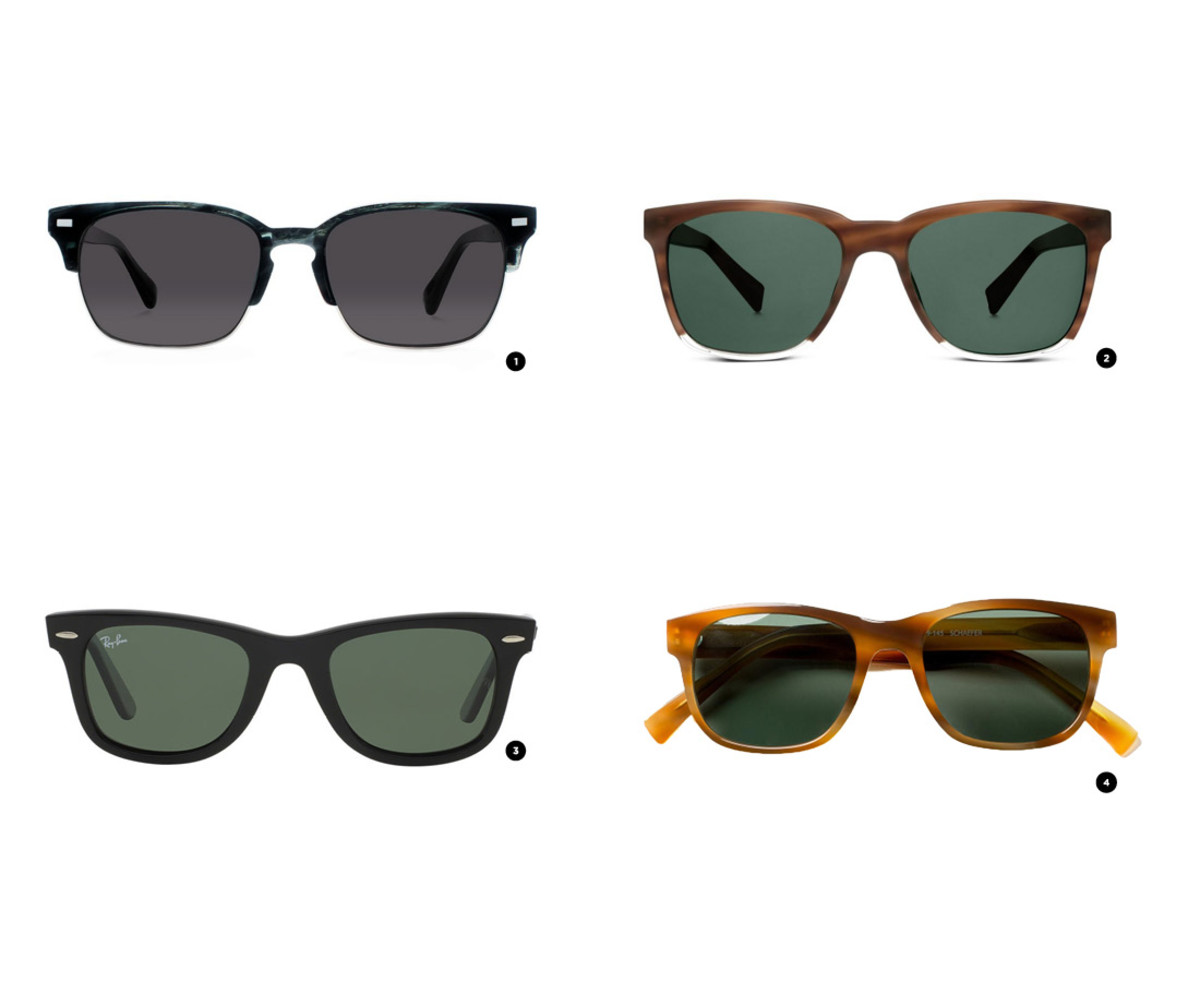 1. Warby Parker, $145 / 2. Warby Parker, $95 / 3. Ray-Ban, $150/ 4. Classic Specs, $89
