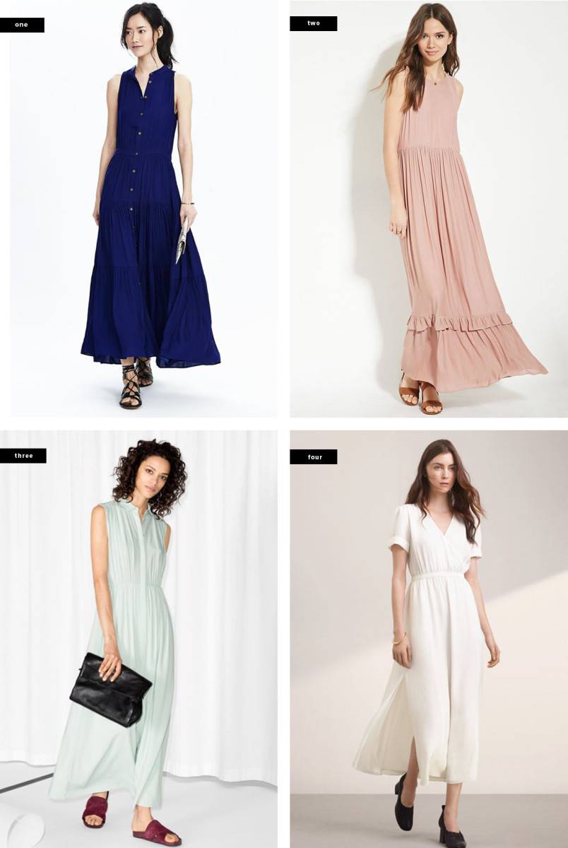 1. Banana Republic, $148 / 2. Forever 21, $30 / 3. & Other Stories, $115 / 4. Aritzia, $225