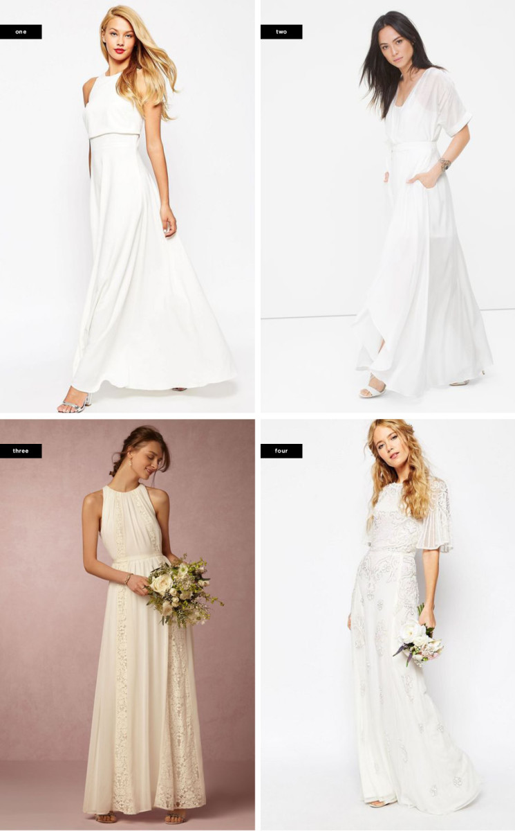 1. Asos, $55 (similar) / 2. White House Black Market, $180 / 3. BHLDN, $295 / 5. Asos, $242