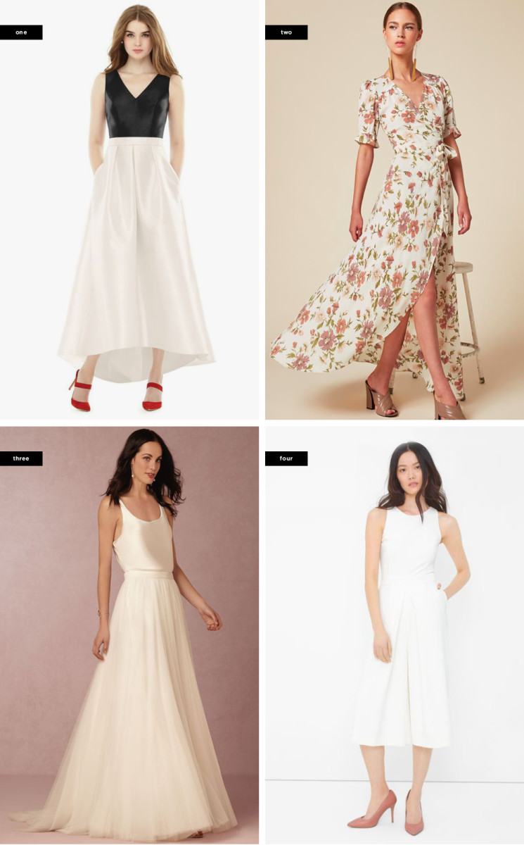 1. Nordstrom, $228 / 2. Reformation, $248 / 3. BHLDN, $600+ / 4. Landsend, $175 (similar)