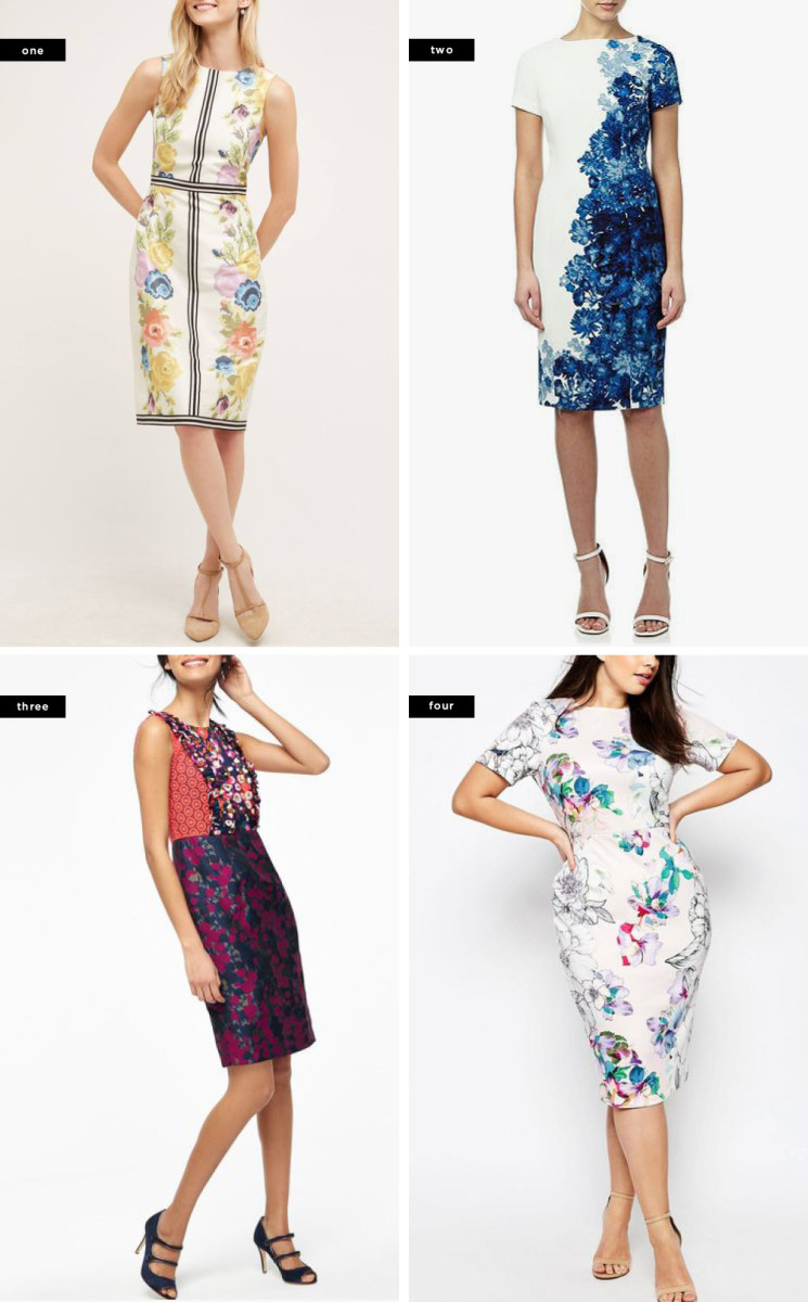 1. Anthropologie, $228 / 2. House of Fraser, $204 / 3. Boden, $68 / 4. ASOS, $78