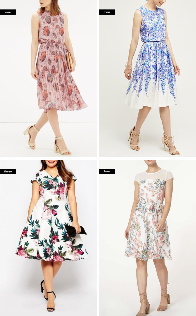1. Oasis, $92 / 2. Anthropologie, $198 / 3. ASOS, $94 (similar) / 4. Dorothy Perkins, $95