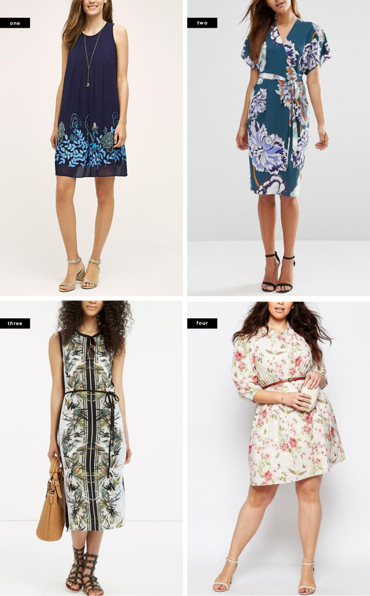 1. Anthropologie, $228 / 2. ASOS, $73 / 3. Oasis, $72 / 4. ASOS, $45