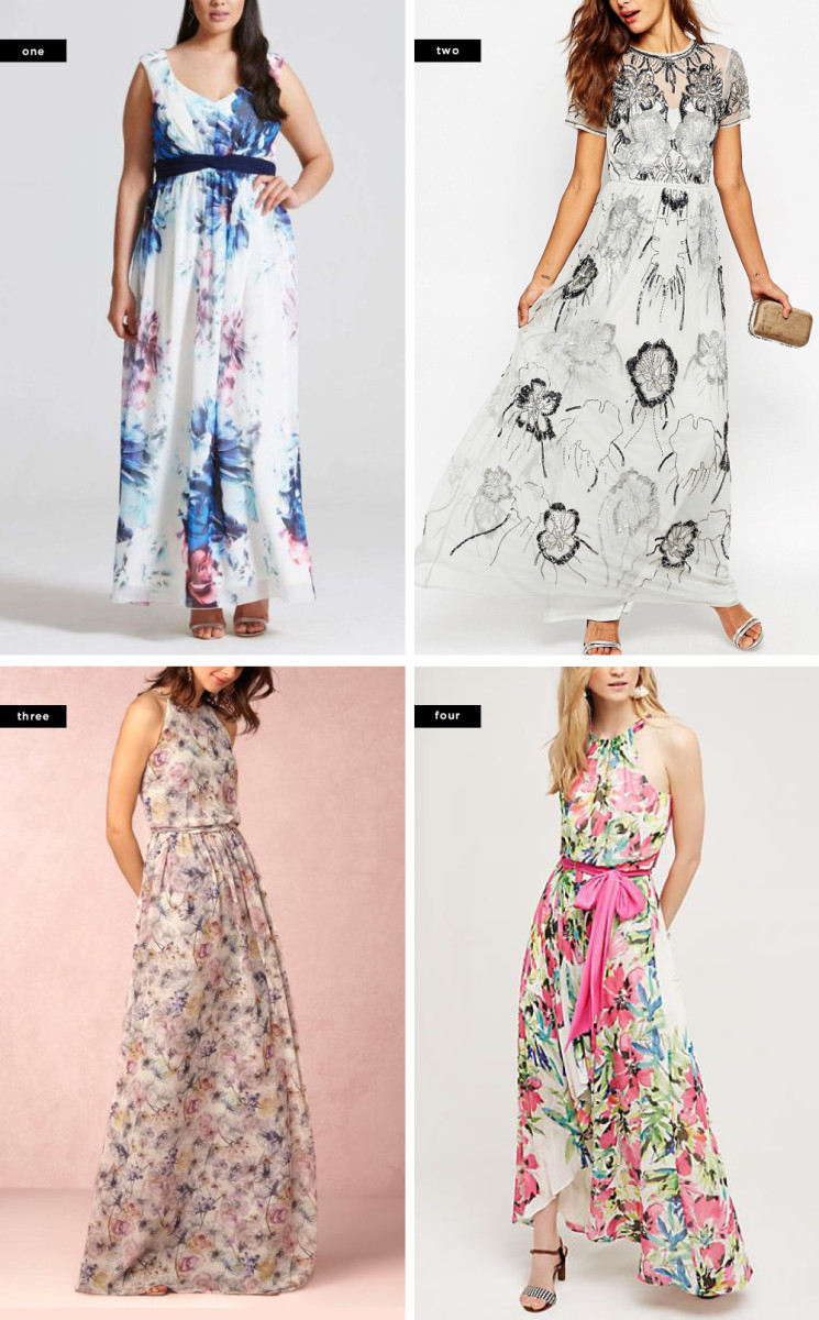 1. Dorothy Perkins, $140 / 2. ASOS, $194 / 3. BHLDN, $260 / 4. Anthropologie, $178