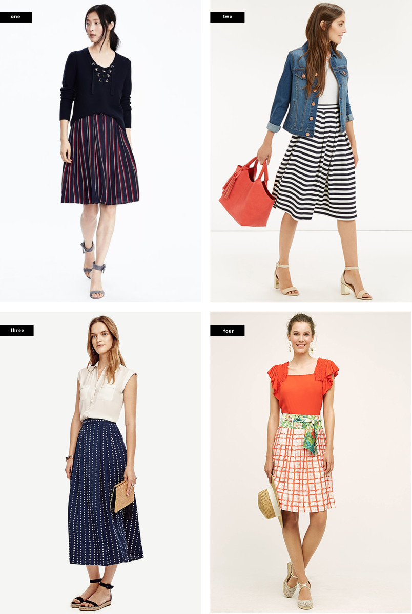 1. Banana Republic, $78 / 2. Oasis, $54 / 3. Ann Taylor, $129 / 4. Anthropologie, $128