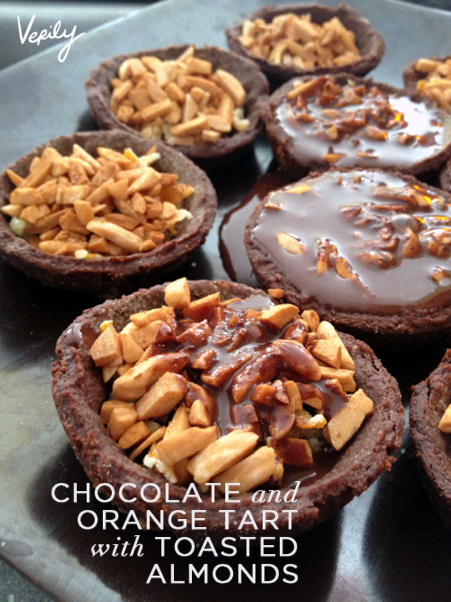 Verily Magazine Dark Chocolate Orange Tarts with Toasted Almonds