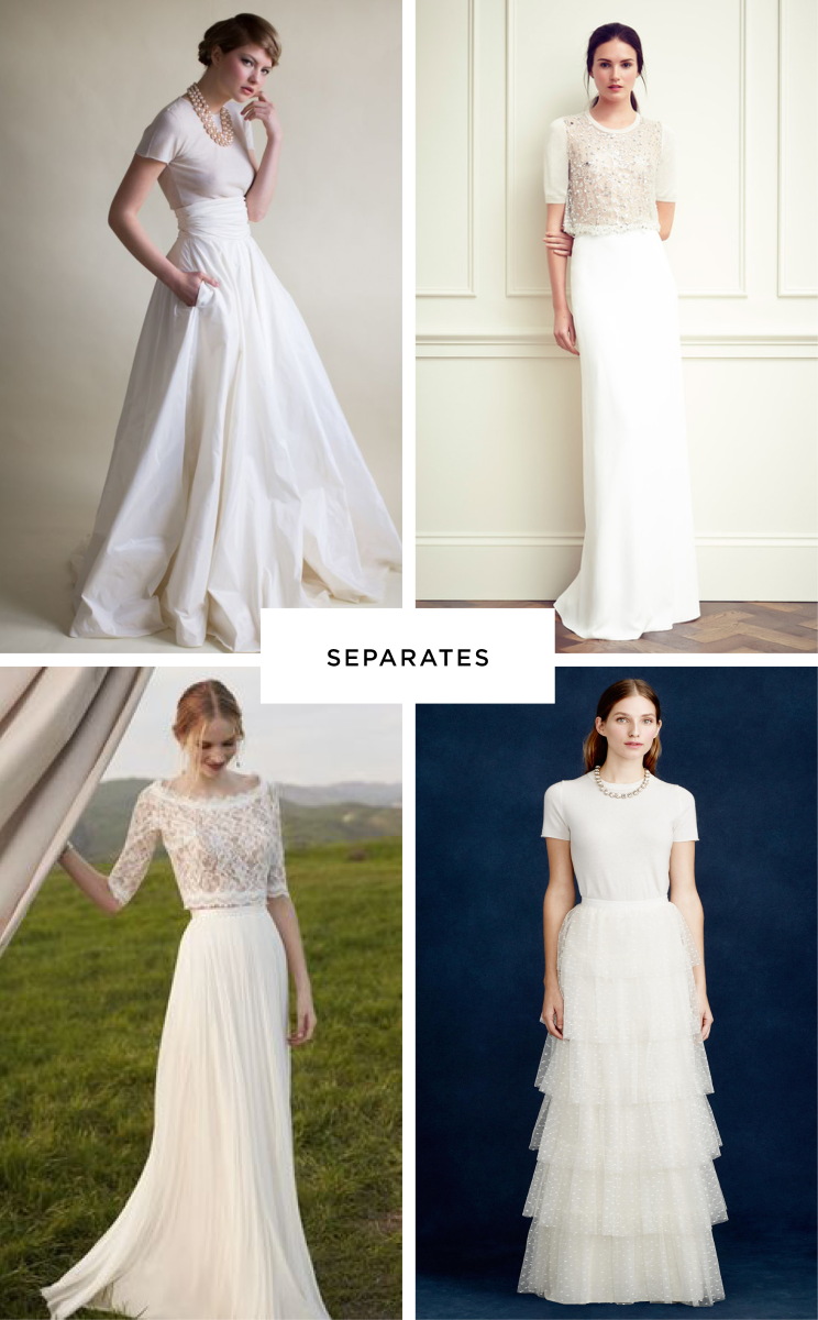 Clockwise from top left: Love My Dress, Laia Magazine, J.Crew, BHLDN