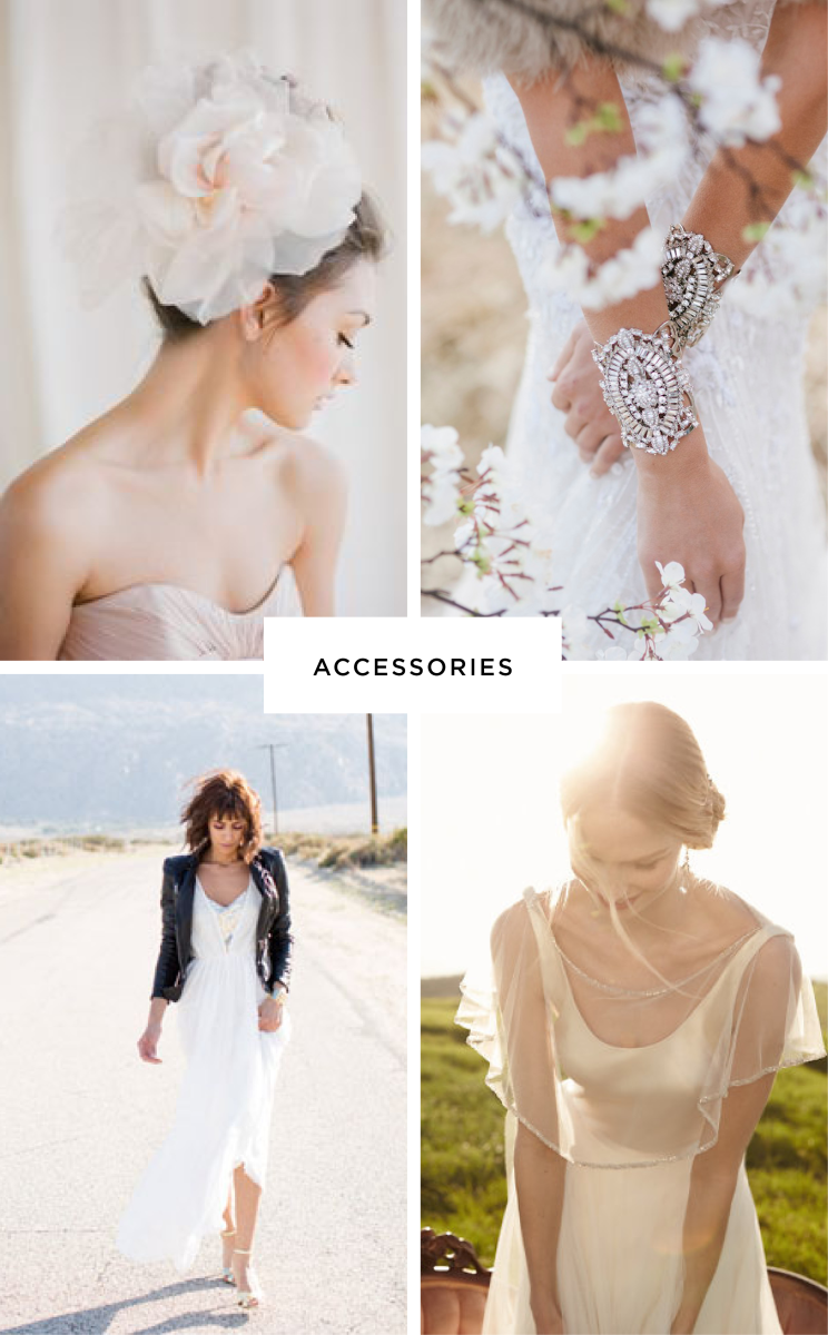 Clockwise from top left: Praise Wedding, Samantha Wills, BHLDN, Green Wedding Shoes