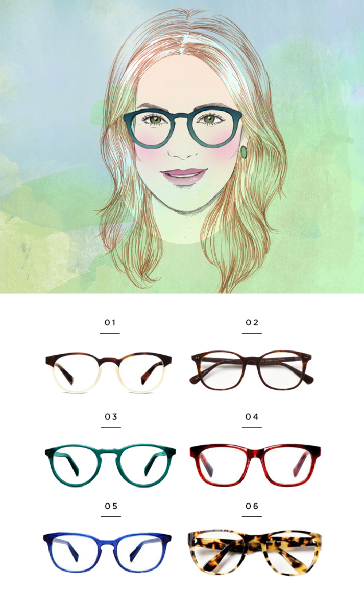 1. Warby Parker, $145 / 2. Classic Specs, $89 / 3. Warby Parker, $95 / 4. Warby Parker, $95 / 5. Warby Parker, $95 / 6. Classic Specs, $89