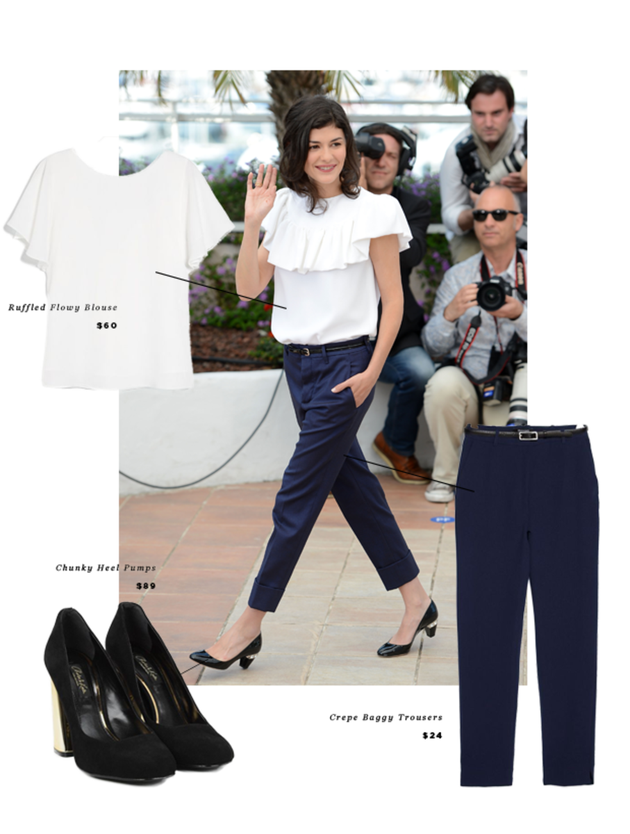 1. Blouse, Mango, $60 / 2. Heels, Charles & Keith, $89 / 3. Trousers, Mango, $24