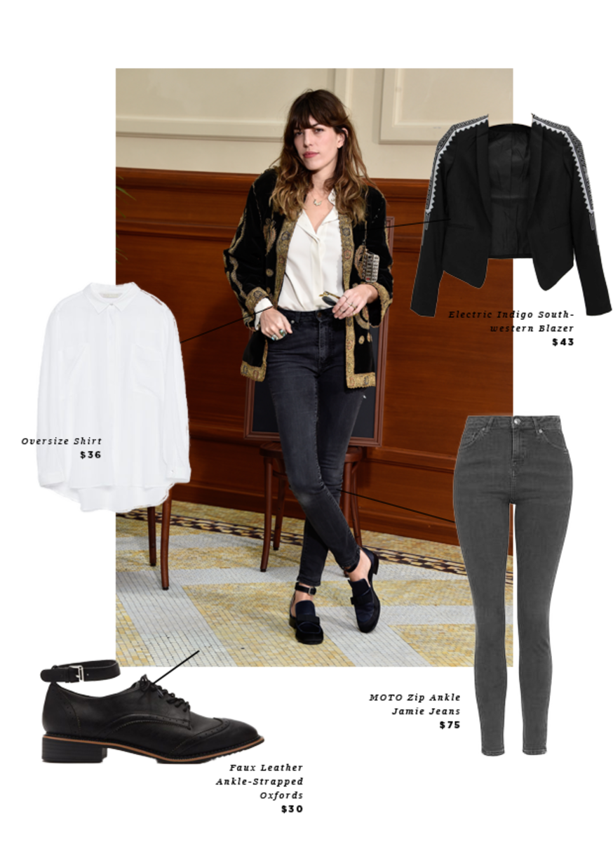 1. Button-up, Zara, $36 / 2. Blazer, Buckle, $43 / 3. Oxfords, Forever 21, $30 / 4. Jeans, Topshop, $75