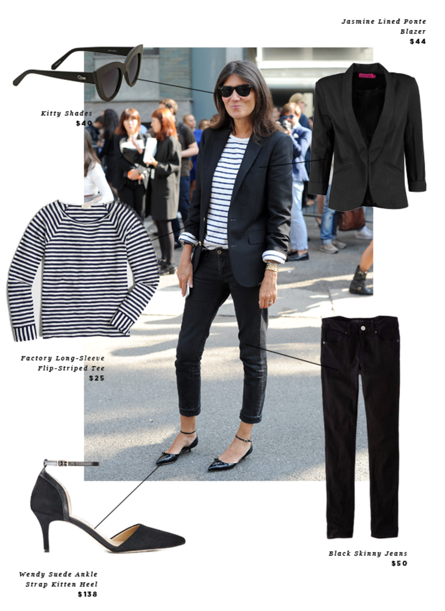 1. Sunglasses, Nasty Gal, $40 / 2. Striped Shirt, J.Crew Factory, $25/ 3. Kitten Heels, Ann Taylor, $138/ 4. Jeans, American Eagle, $50/ 5. Blazer, Boohoo, $44