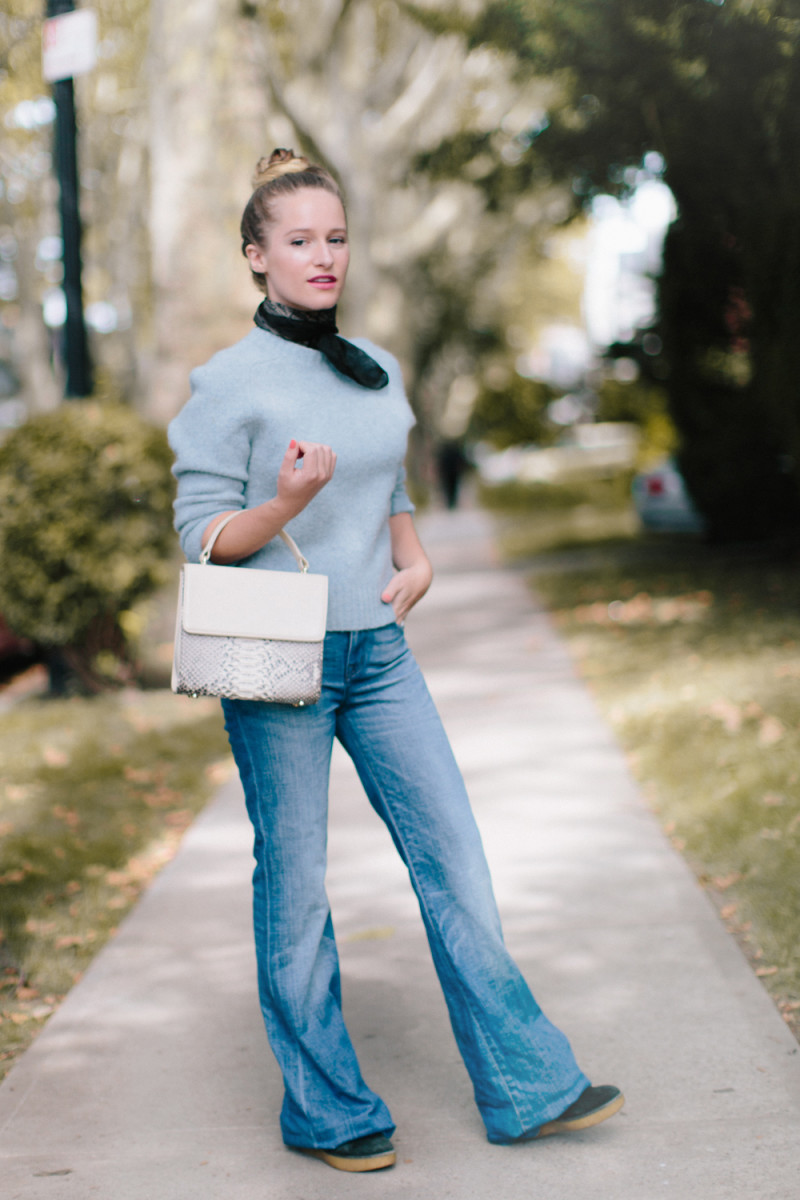 how to style your flared jeans style fall 2015 fashion outfit inspiration urban feminine preppy
