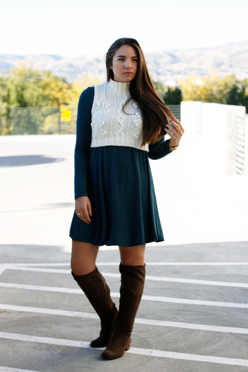 1. Dress, Old Navy, $30 (similar) / 2. Boots, Lord & Taylor, $229 (similar) / 3. Sweater, Kohl's, $38 (similar) / 4. Watch, Nixon, $125 // Photo Credit: Lauryncakes