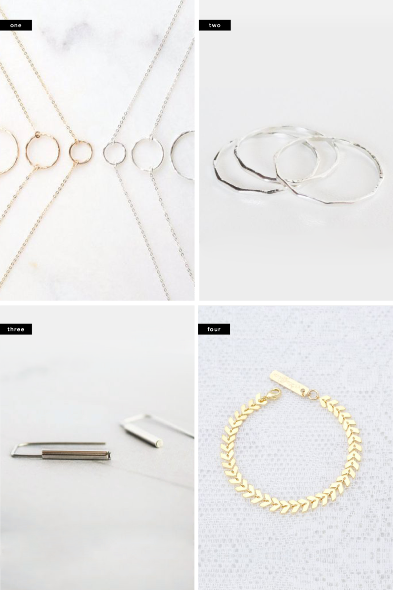 1. Femina Handmade, $27 / 2. Slave To Beads, $15/ 3. Pease Jewelry, $14 / 4. Meitaltoledo, $28