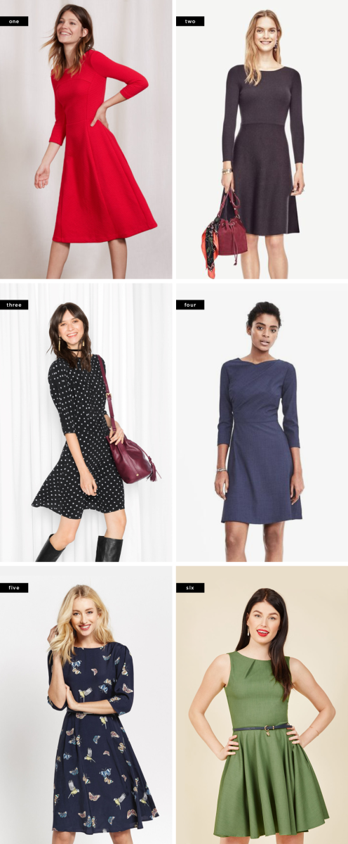 1. Boden, $74+ / 2. Ann Taylor, $110 / 3. & Other Stories, $85 / 4. Banana Republic, $138 / 5. Oasis, $67 / 6. ModCloth, $80