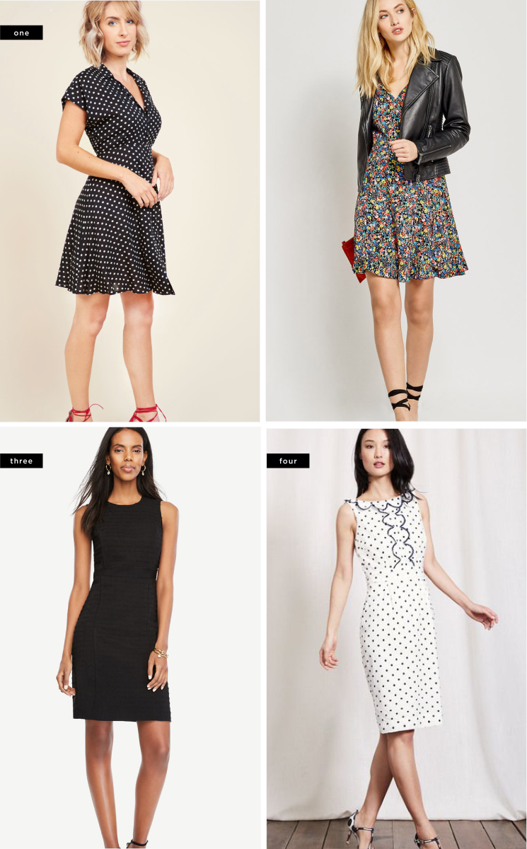 1. ModCloth, $65 / 2. Oasis, $77 / 3. Ann Taylor, $149  / Boden, $145
