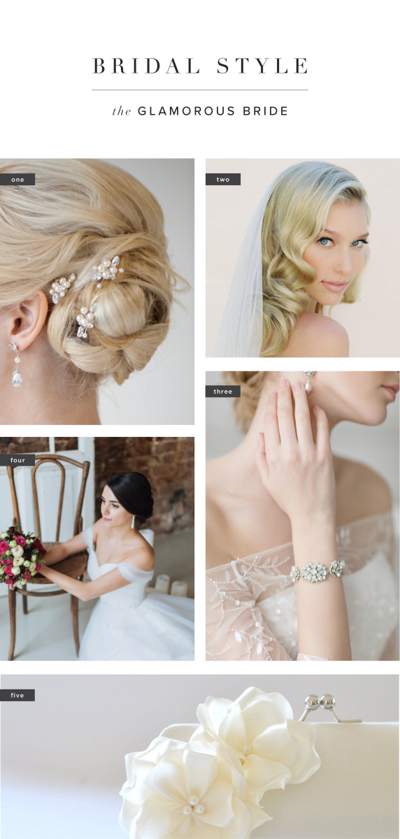 1. Powder Blue Bijoux, $45 / 2. Veiled Beauty, $75 / 3. Bride La Boheme, $94 / 4. Boudoir Wedding, $470 / 5. Vanijja, $23